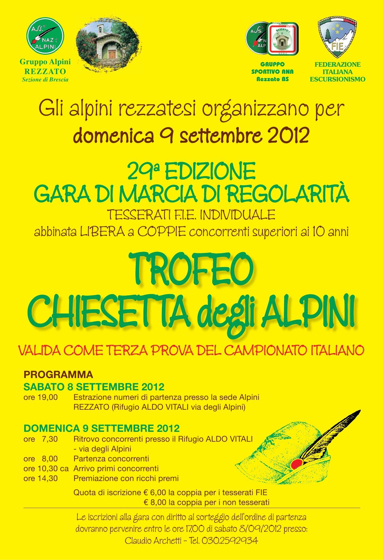 Locandina 29° trofeo Chiesetta degli Alpini